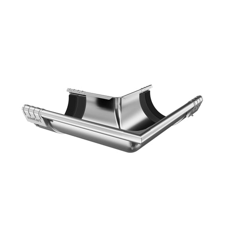 125mm Plain Galvanised Steel 90° External Gutter Corner With Joint Brackets