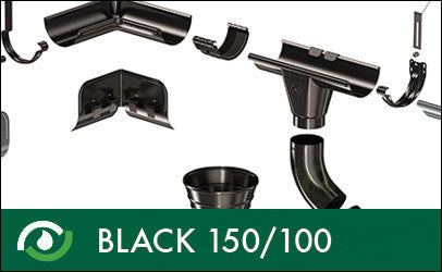 Roofart Black Prelaq Gutters & Downpipes 150/100