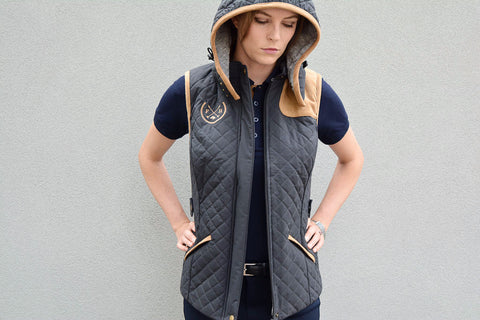 Collins Quilted Riding Vest | Dark Grey - Equestrian Fashion | Foxtrot Horsewear