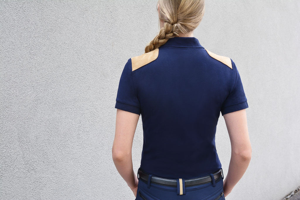 Knox Suede -Trim Polo Tshirt | Navy