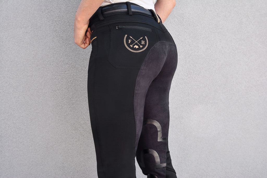 Harper Full Seat Lux-Grip Riding Breeches | Black (OUT OF STOCK - SORRY) - Equestrian Fashion | Foxtrot Horsewear