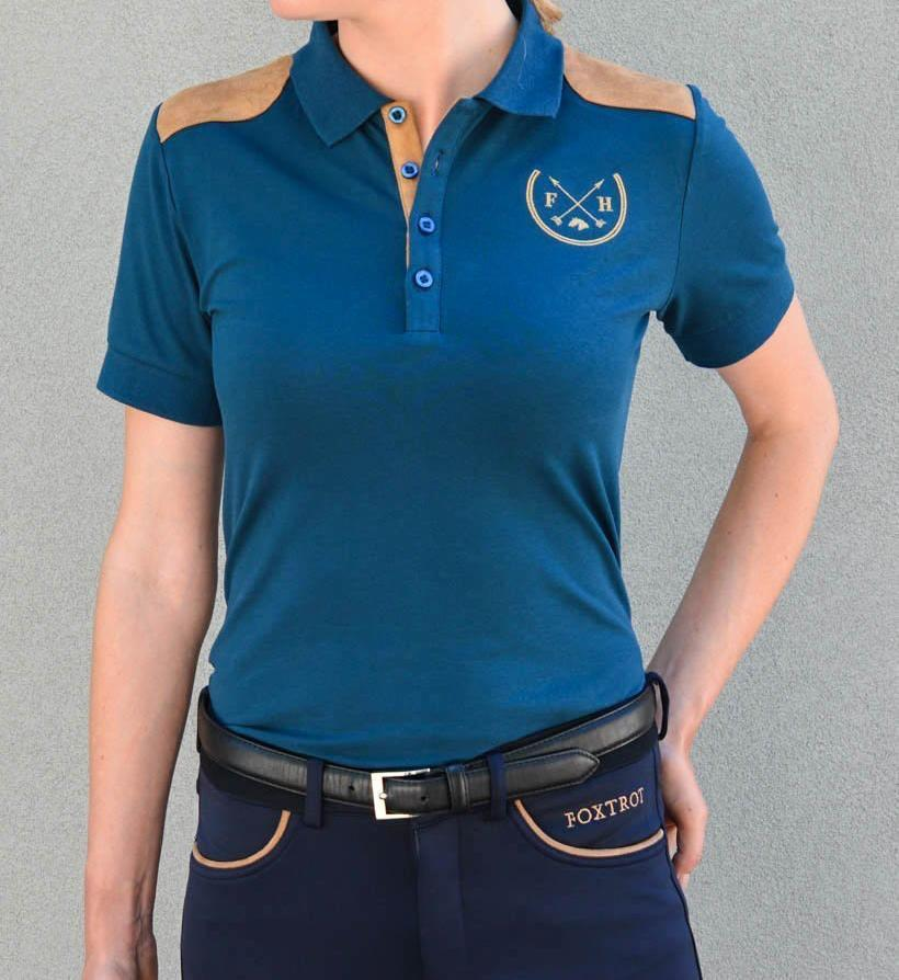 Knox Suede -Trim Polo Tshirt | Midnight Blue - Equestrian Fashion | Foxtrot Horsewear