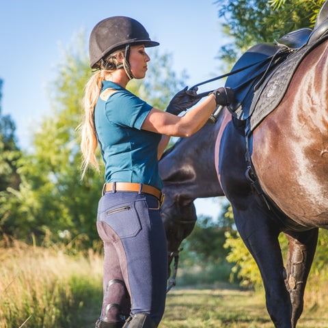 Knox Suede Trim Polo | Midnight Blue - Equestrian Fashion | Foxtrot Horsewear