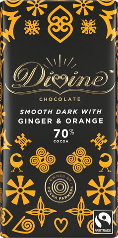 Divine 70% Dark Chocolate with Ginger & Orange 90g