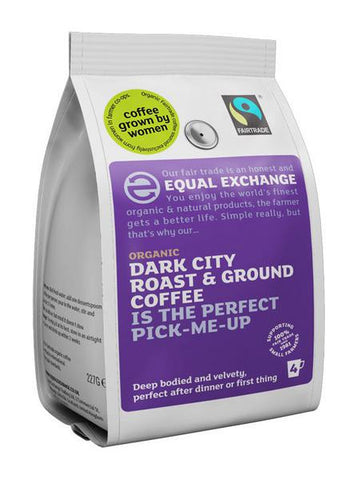 Equal Exchange Dark City Roast Fresh Ground Coffee - Roots Fruits & Flowers Glasgow