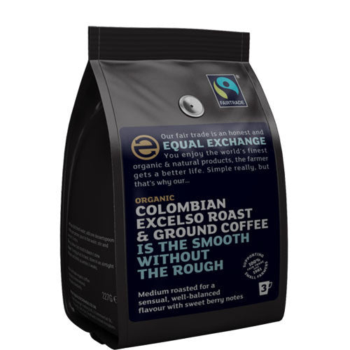 Equal Exchange Colombian Excelso Ground Coffee - Roots Fruits & Flowers Glasgow