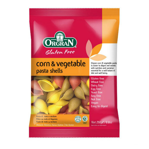 Orgran Gluten Free Corn & Vegetable Shells - Roots Fruits & Flowers Glasgow