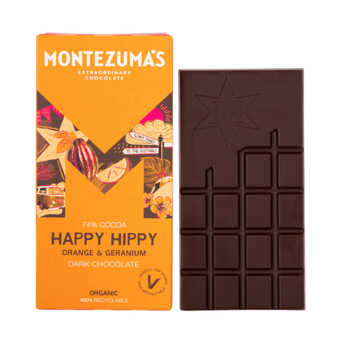 Montezuma's Happy Hippy Dark Chocolate with Orange & Geranium