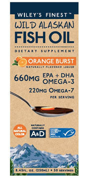 Wiley's Finest Wild Alaskan Fish Oil: Orange Burst (EPA + DHA Omega -3) 250ml