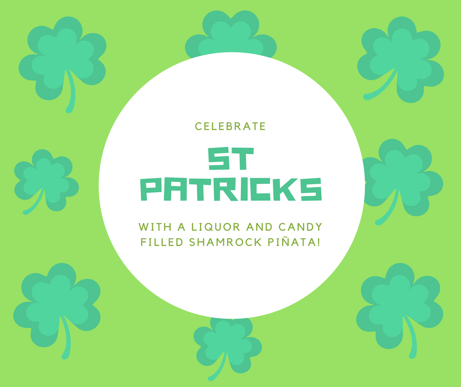 Celebrate St. Patrick's Day with a liquor and candy filled shamrock piñata
