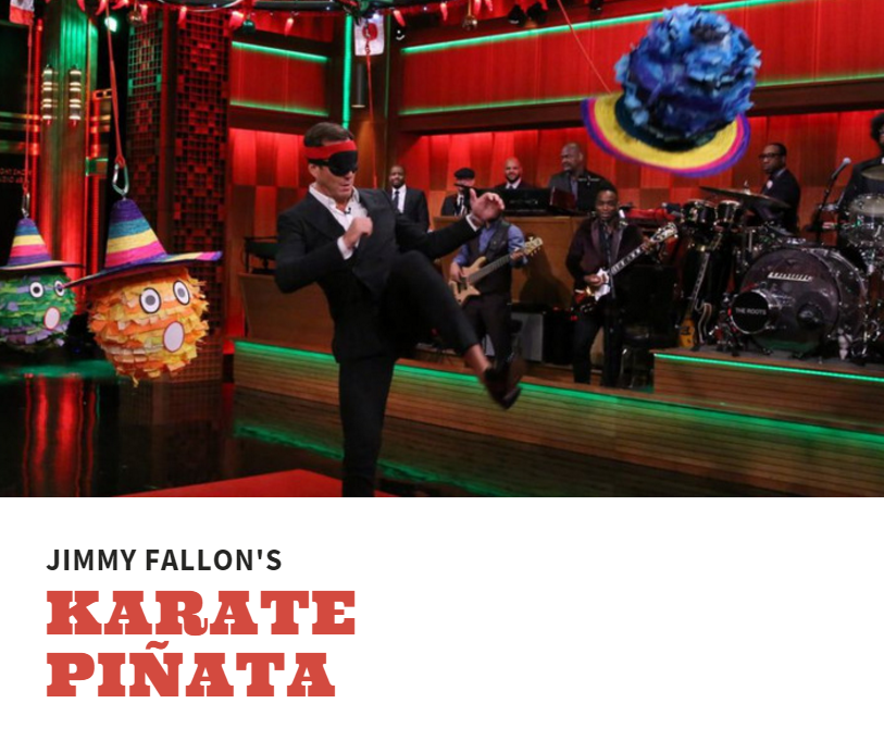Jimmy Fallon steps up the Piñata smashing game with Karate