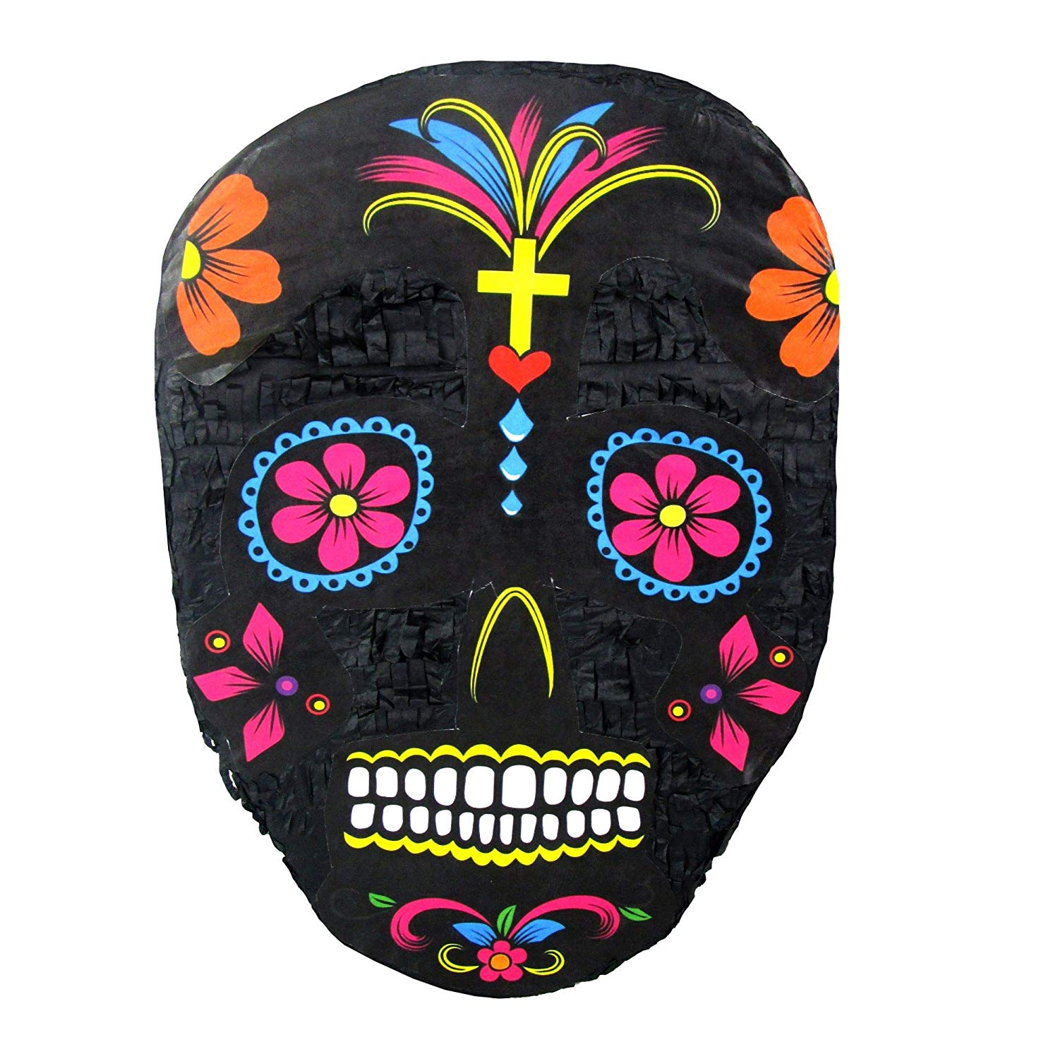 Black Sugar Skull Pinata, Day of the Dead Party Game, Halloween Prop and Decoration