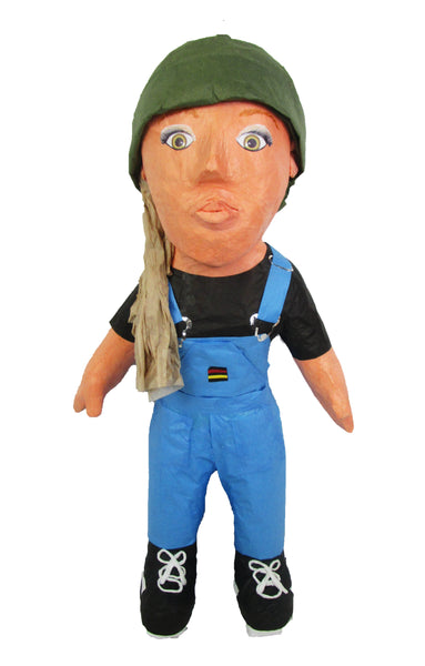 Custom Woman in Overalls Pinata