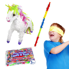 Unicorn Pinata Kit Including Pinata, Buster Stick, Bandana and 3 lb Candy Filler