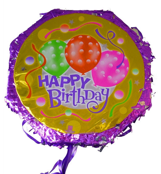 18 Inches Metallic Pull String Pinata - Happy Bday Balloons 2