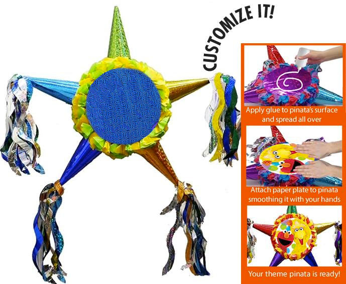 Standard Customizable Fiesta Star Pinata - Boys Bright Colors 24""