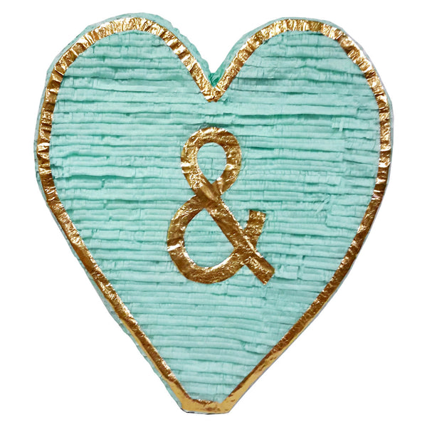 Mint and Gold Heart Pinata