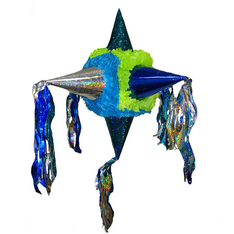 Holographic Satellite Pinata - Blue Green