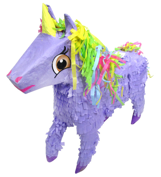 Medium Purple Unicorn Pinata with Rainbow Mane, 3D