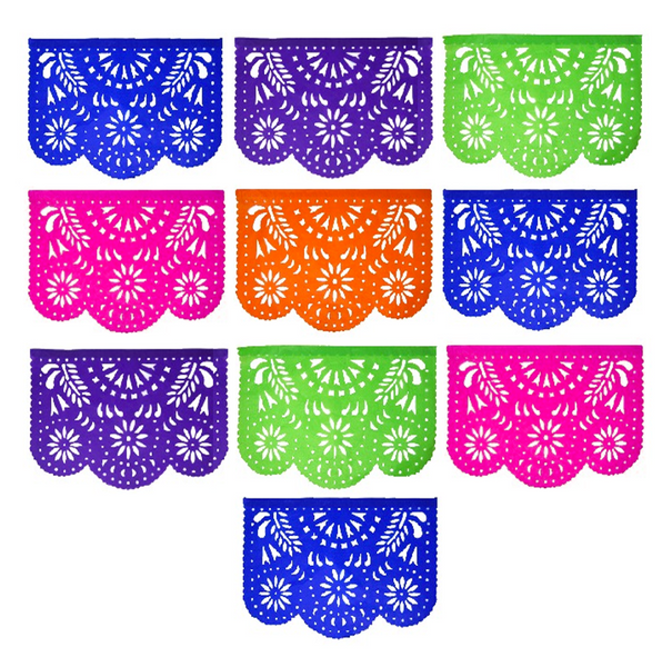Mexican Fiesta Floral Papel Picado Banner 4 Pack, Each Banner 14 feet Long with 10 Multi-Colored Panels, 56 feet Long with 40 Panels Total