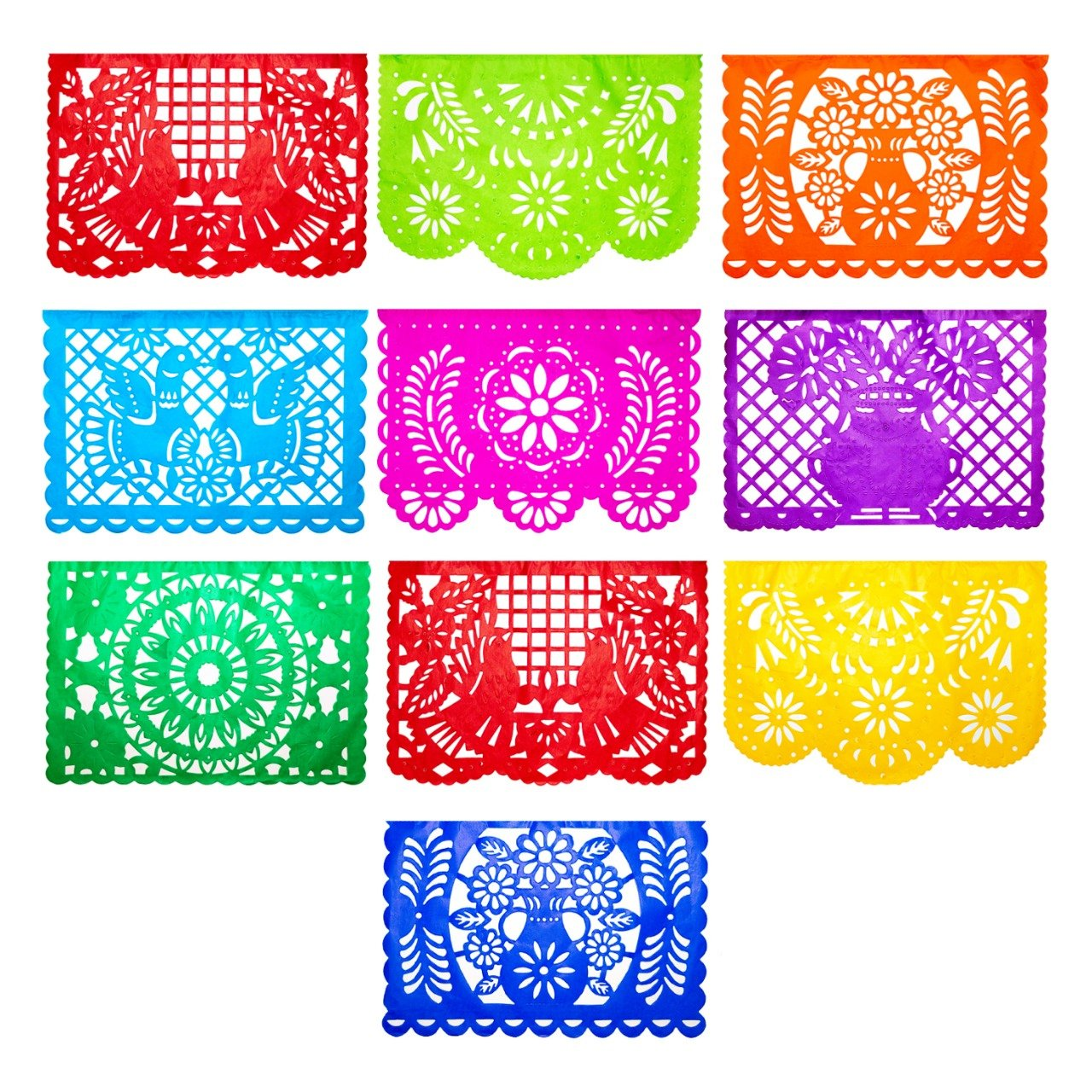 Mexican Fiesta Papel Picado Banner 4 Pack, Each Banner 14 feet Long with 10 Multi-Colored Panels, 56 feet Long with 40 Panels Total