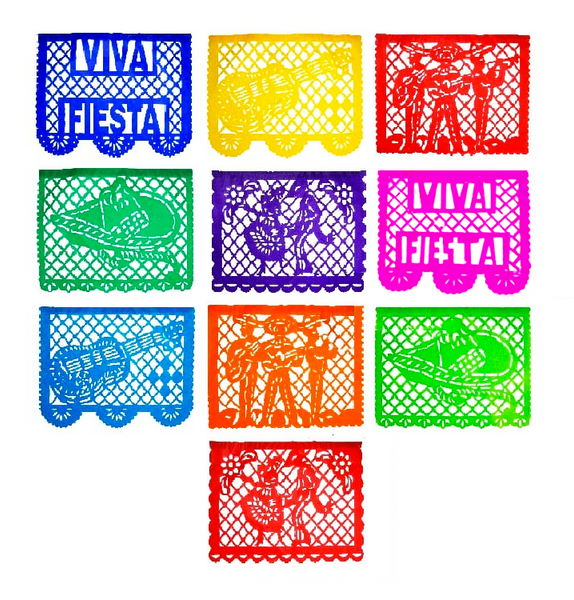 Viva Fiesta Mexicana Papel Picado Banner 4 Pack, Each Banner 14 feet Long with 10 Multi-Colored Panels, 56 feet Long with 40 Panels Total
