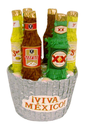 Viva Mexico Beer Basket Pomotional Pinata