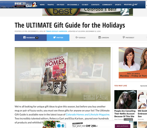 Colorado Homes and Lifestyle Magazine Gift Guide 2016 x ZigZagZurich