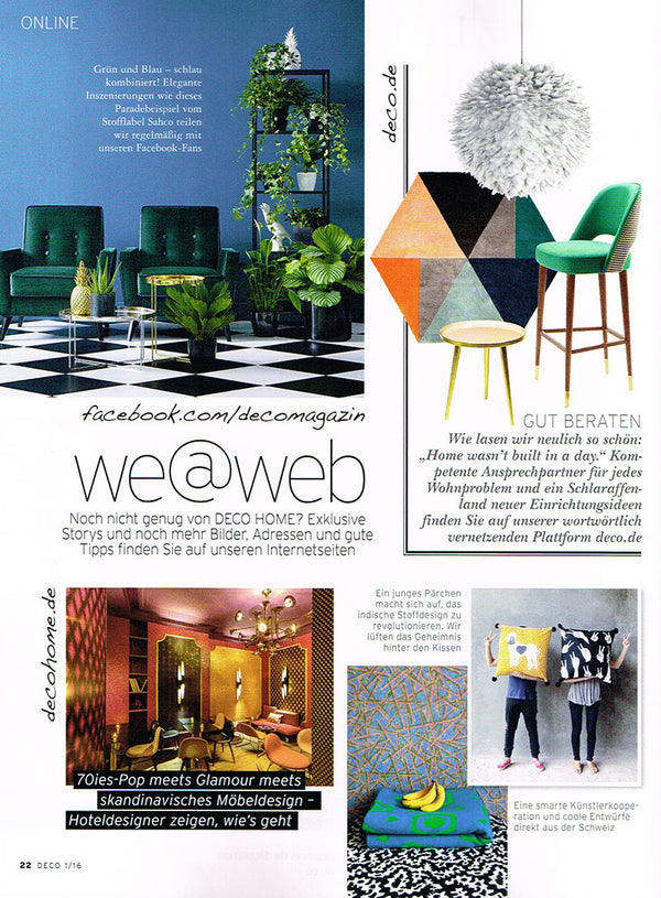 CoopDPS Europa Cotton Blankets by Nathalie Du Pasquier & George Sowden featured in DECO HOME January 2016