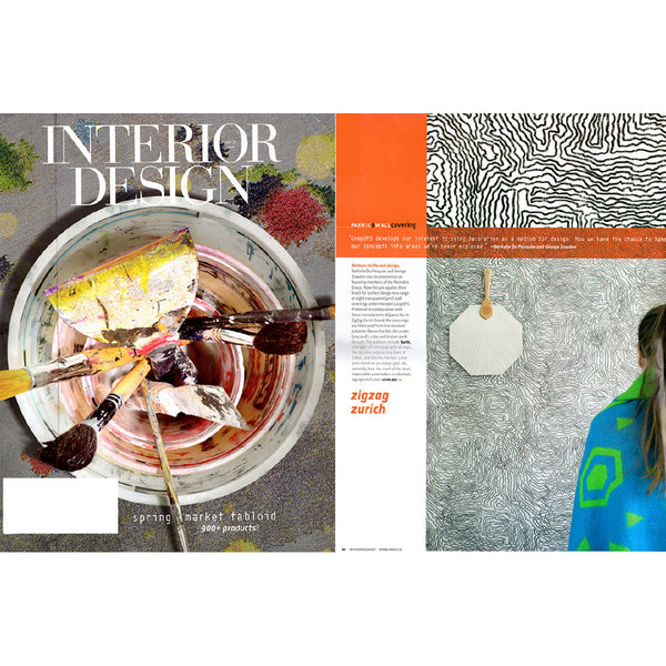 Wallcovering and Artist Cotton Blanket, Selected by Interior Design Magazine June 2016