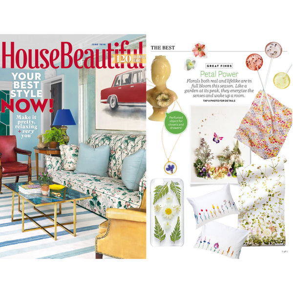"""Simply Blumen"" Designer Duvet Cover and Pillow by Karina Eibatova,""Petal Power"" Summer  selection in HOUSE BEAUTIFUL June 2016"