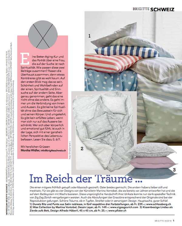 """Wax"" Collection, Artist Duvet Covers and Pillows By Martina Vontobel featured in Brigitte's favorites February 2018"