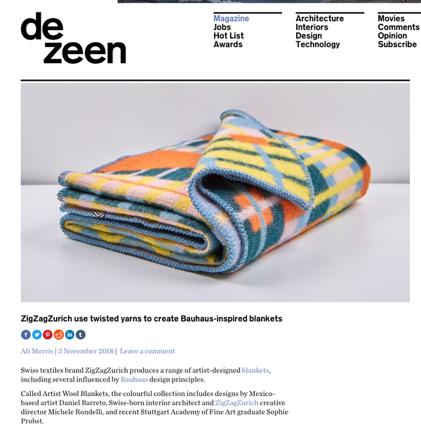 """Gunta"" Wool Blanket by Sophie Probst and  Michele Rondelli, selected by DEZEEN magazine November 2018"