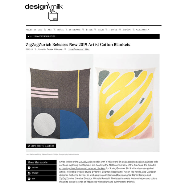 """Everparty"" Blankets & Throws by Daniel Barreto and ""Bauhaused 5"" Blankets & Throws by Sophie Probs, DESIGN MILK's favorites March 2019"