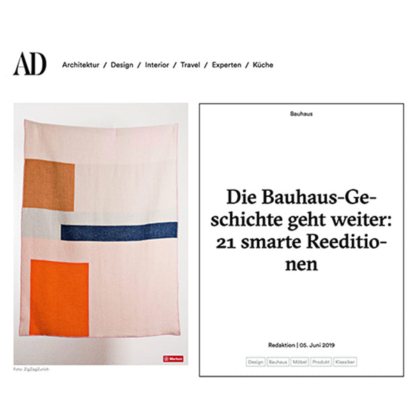 """Bauhaused 2"" Wool Blanket by Sophie Probst and Michele Rondelli selected by AD GERMANY June 2019"