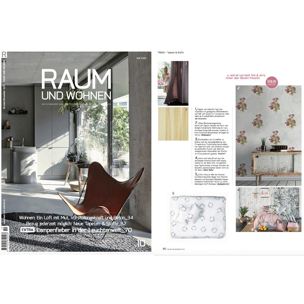 Artist and Designer Bedding by ZigZagZurich featured in RAUM UND WOHNEN magazine Fall 2017