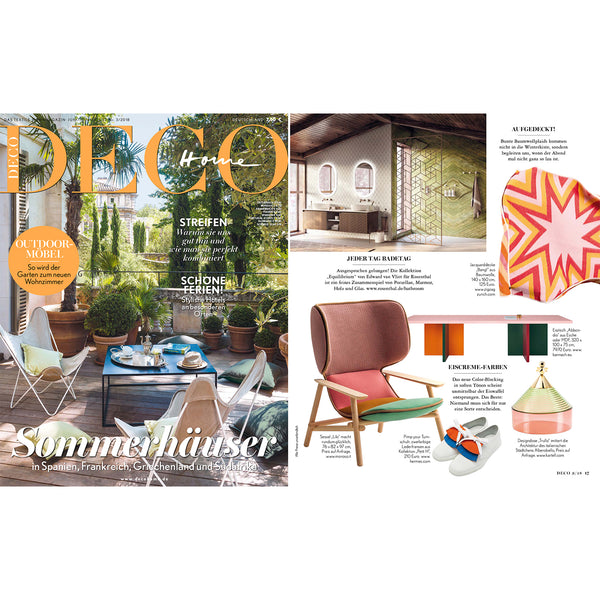 BANG! Artist Cotton Blankets & Throws by Liz Collins  - Red featured in DECO HOME magazine June/July/August 2018
