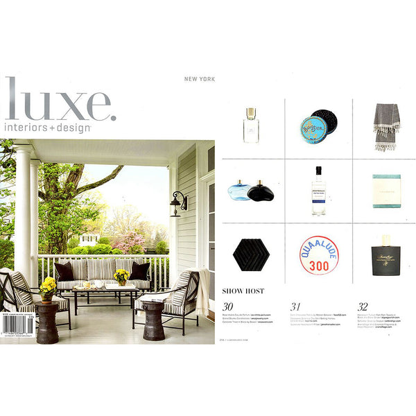 """Pom Pom"" Black Handloom Turkish Towel featured in LUXE August 2017"