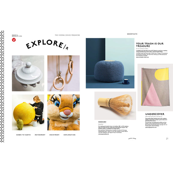 """Konstruktiv"" Wool Blanket by Michele Rondelli featured in EXPLORER MAGAZINE December 2017"