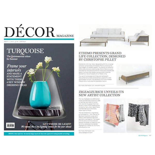Artist Cotton Blankets selected by DÉCOR MAGAZINE June 2018