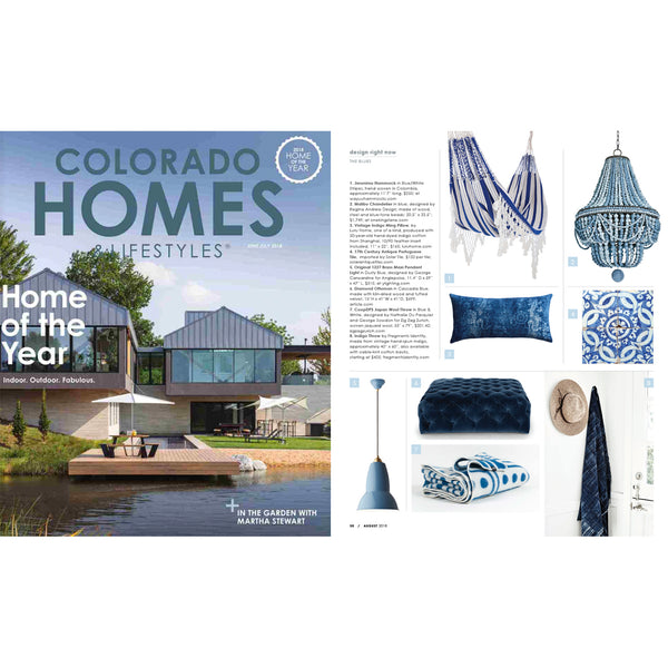 "COOPDPS ""Japan"" Cotton Blanket by Nathalie Du Pasquier & George Sowden, Colorado Homes Magazine favorite blue selection August 2018"
