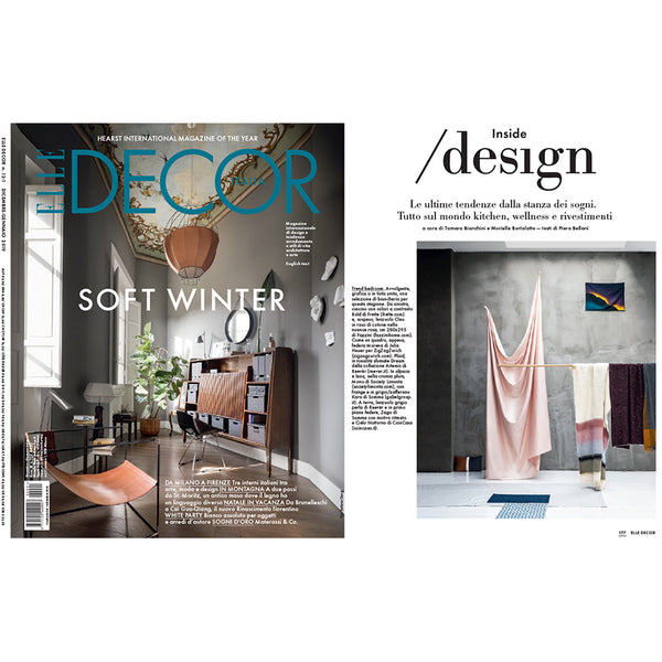 """Morena"" Artist Duvet Covers and Pillows by Julia Heuer in Elle Decor December 2018"