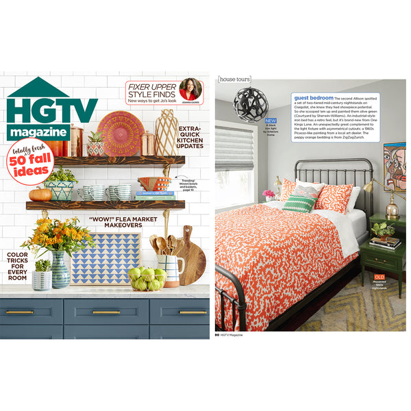 "COOPDPS ""Africa"" Duvet Covers and Pillows selected by HGTV MAGAZINE  October 2018"