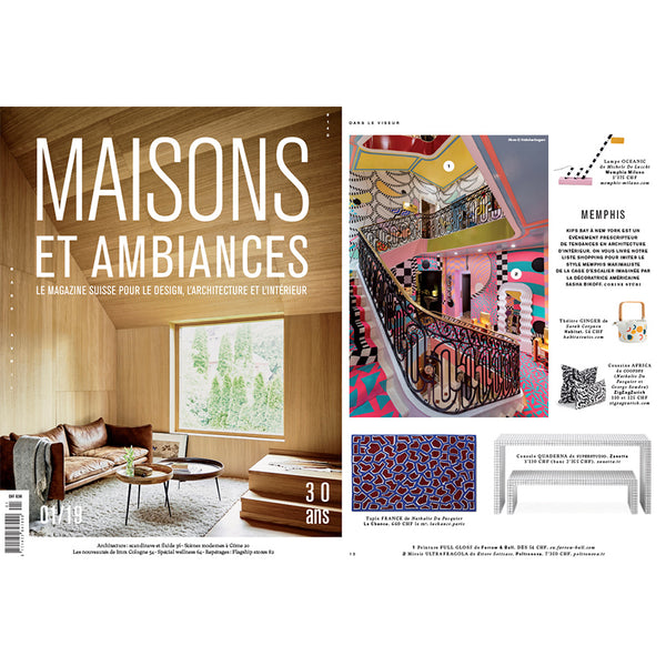 "COOPDPS ""Africa"" Pillows & Cushions featured in Maisons et Ambiances, February 2019"