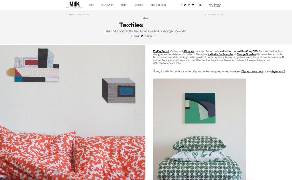MilK Decoration on ZigZagZurich and 4Spaces CoopDPS Nathalie Du Pasquier George Sowden