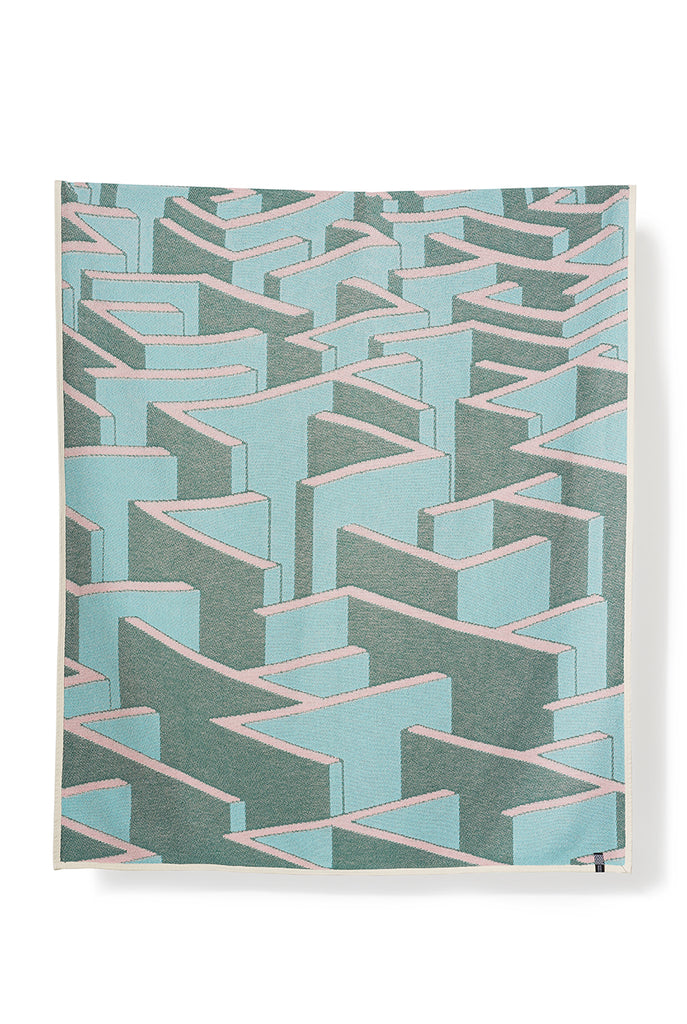 Dedale Cotton Blankets & Throws by Kevin Lucbert - Turquoise
