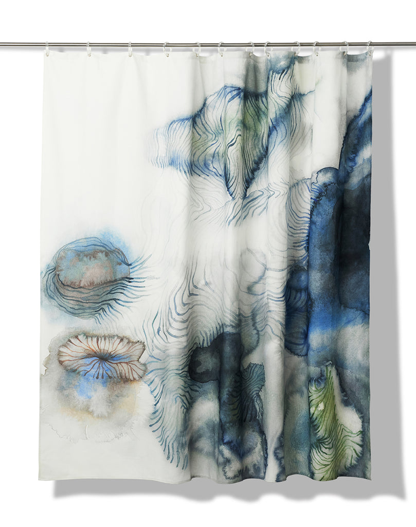 Flowing Artist Cotton Shower Curtain ( Waterproof ) by Remo Mazzoni