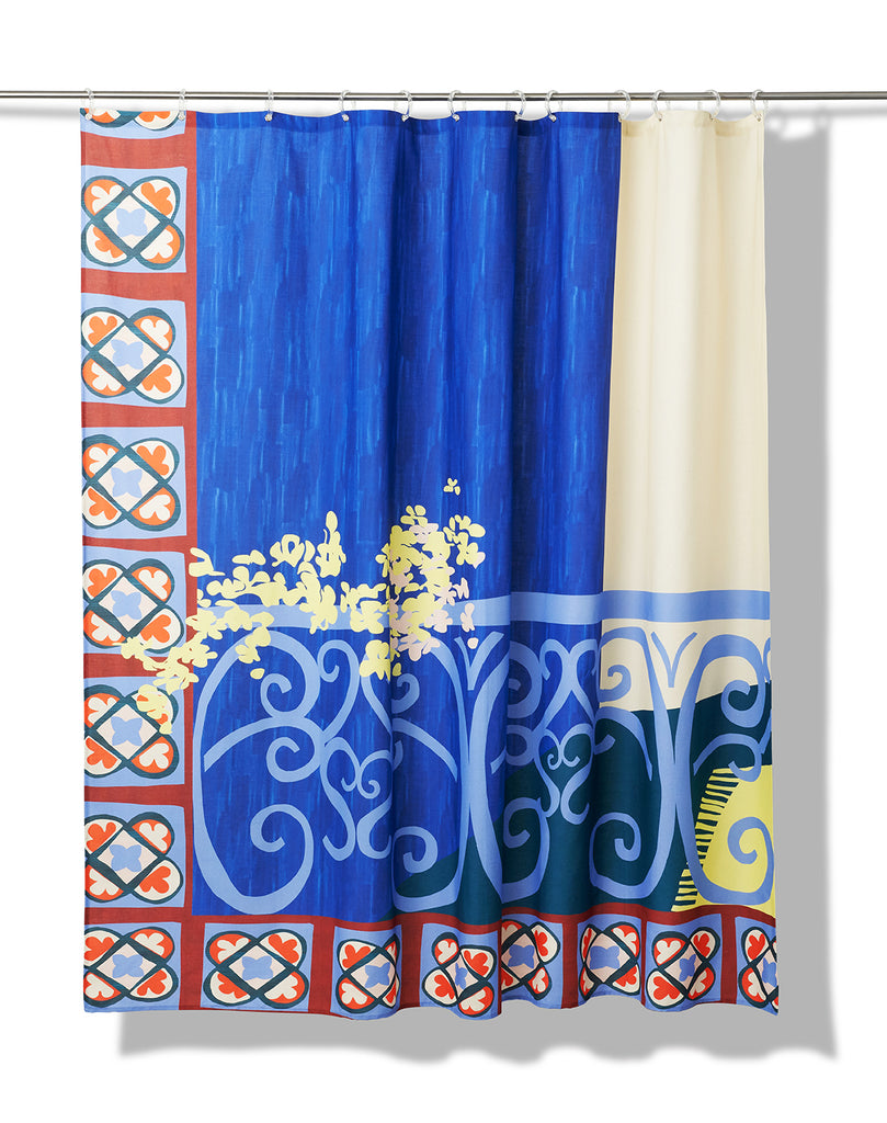 Le Balcon Artist Cotton Shower Curtain ( Waterproof ) by Les Crafties