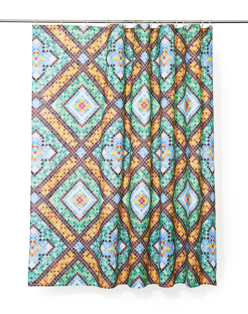 Tilescapes Artist Cotton Shower Curtain ( Waterproof ) by Remo Mazzoni
