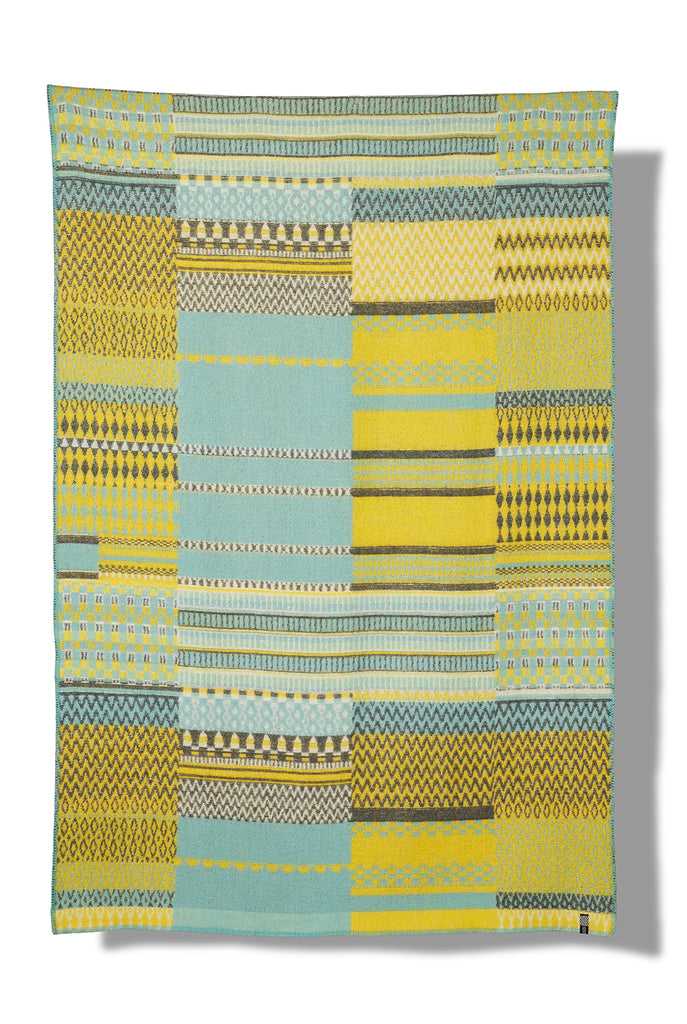 Patchwork col. yellow&turquoise Wool Blanket by Michele Rondelli